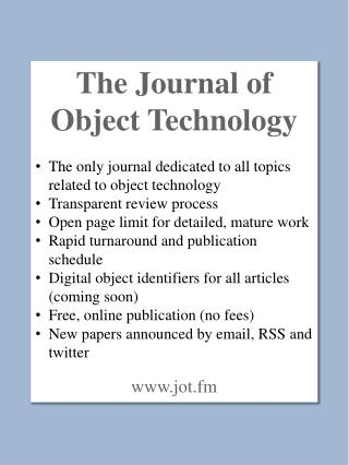 The  Journal of Object  Technology