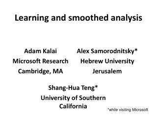 Learning and smoothed analysis