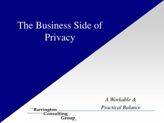 The Business Side of Privacy