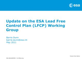Update on the ESA Lead Free Control Plan (LFCP) Working Group