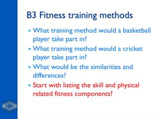 B3 Fitness  training methods