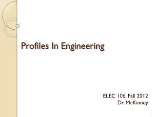 Profiles In Engineering
