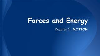 Forces and Energy