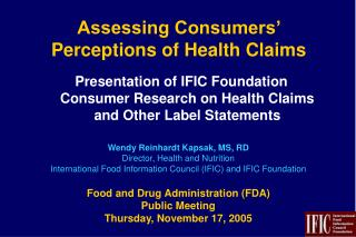 Assessing Consumers' Perceptions of Health Claims