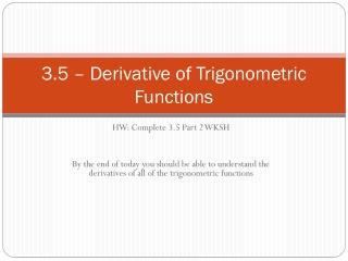 3.5 – Derivative of Trigonometric Functions