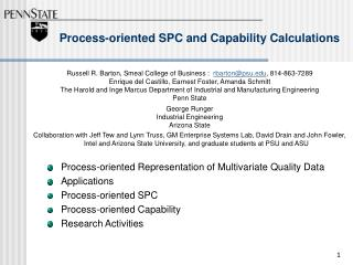 Process-oriented SPC and Capability Calculations
