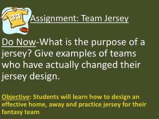 Assignment: Team Jersey