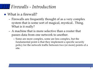 Firewalls - Introduction