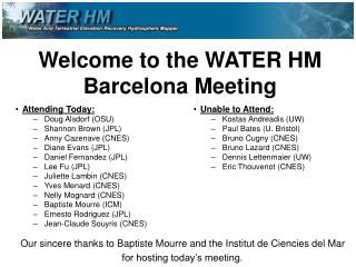 Welcome to the WATER HM Barcelona Meeting
