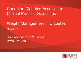 Canadian Diabetes Association Clinical Practice Guidelines Weight Management in Diabetes
