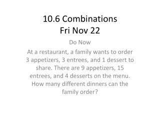 10.6 Combinations Fri Nov 22