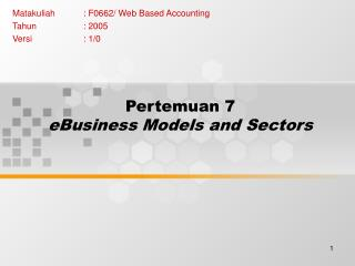 Pertemuan 7 eBusiness Models and Sectors