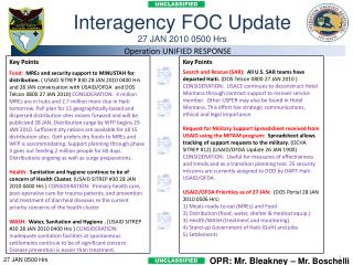Interagency FOC Update 27 JAN 2010 0500 Hrs