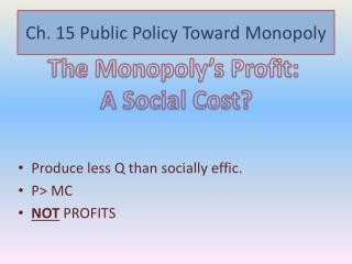 Ch. 15 Public Policy Toward Monopoly