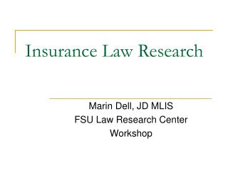 Insurance Law Research