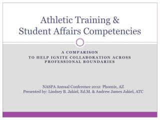 Athletic Training &  Student Affairs Competencies