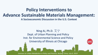 Seminar o n Urban Metabolism in Policy and Practice, Beijing, China, July 6, 2019