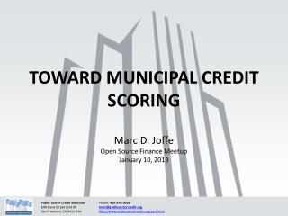 TOWARD MUNICIPAL CREDIT SCORING