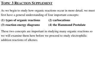 Topic 3 Reaction Supplement
