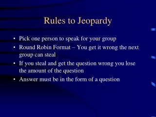 Rules to Jeopardy