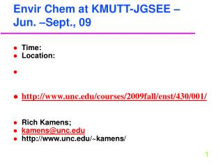 Envir Chem at KMUTT-JGSEE – Jun. –Sept., 09