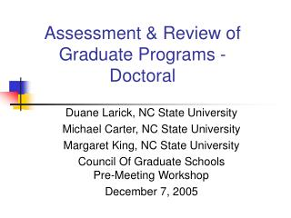 Assessment & Review of Graduate Programs - Doctoral