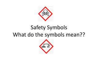 Safety Symbols What do the symbols mean??