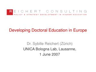 Developing Doctoral Education in Europe