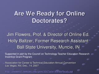 Are We Ready for Online Doctorates?