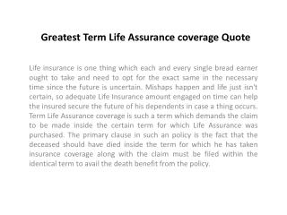 Greatest Term Life Assurance coverage Quote