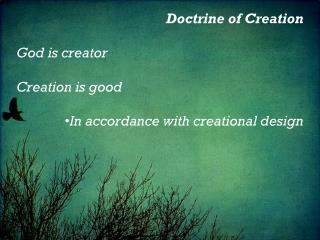 Doctrine of Creation God is creator Creation is good In accordance with creational design