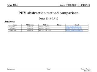 PHY abstraction method comparison