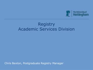 Registry Academic Services Division