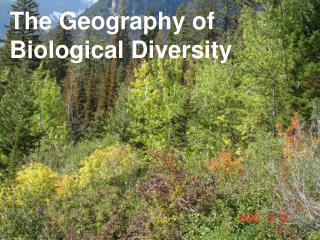 The Geography of  Biological Diversity