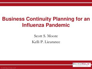 Business Continuity Planning for an  Influenza Pandemic