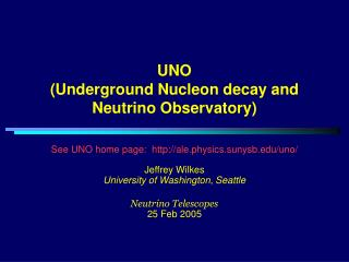 UNO (Underground Nucleon decay and Neutrino Observatory)