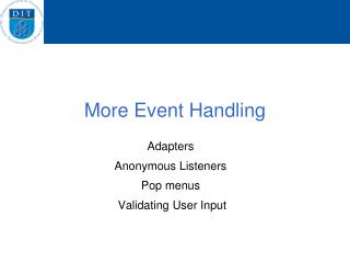 More Event Handling