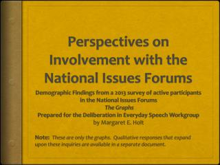 Perspectives on Involvement with the National Issues Forums