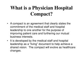 What is a Physician Hospital Compact?