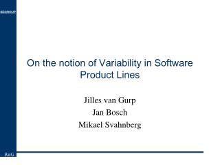 On the notion of Variability in Software Product Lines