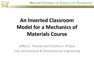 An Inverted Classroom Model for a Mechanics of Materials Course