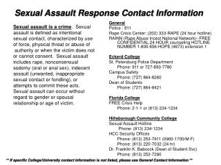 Sexual Assault Response Contact Information