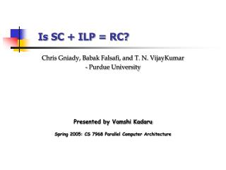Is SC + ILP = RC?