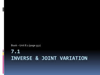 7.1 Inverse & Joint Variation
