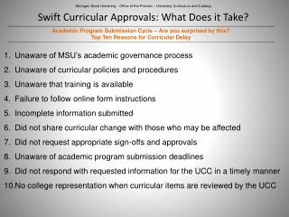 Swift Curricular Approvals: What Does it Take?