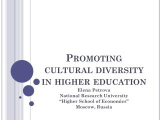 Promoting cultural diversity in higher education