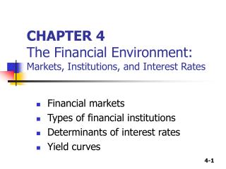 CHAPTER 4 The Financial Environment:  Markets, Institutions, and Interest Rates
