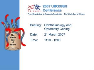 Briefing:	Ophthalmology and Optometry Coding Date:	21 March 2007	 Time:	1110 - 1200