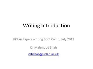 Writing  Introduction