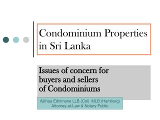 Condominium Properties in Sri Lanka